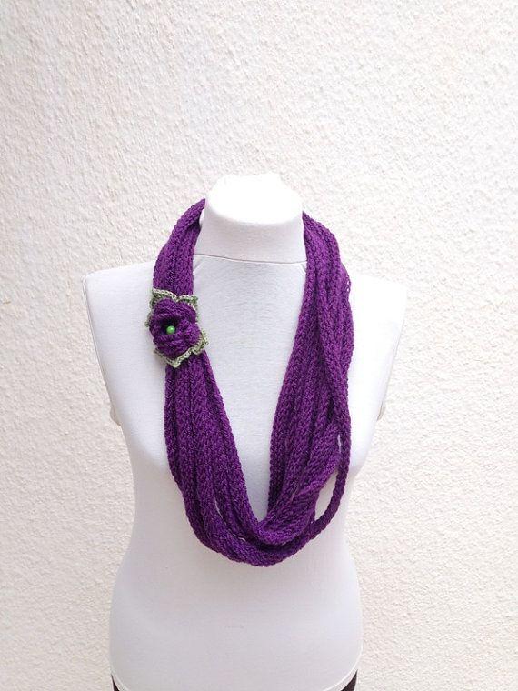 Purple infinity scarf  wool chain necklace  Crochet by NesrinArt, $21.00