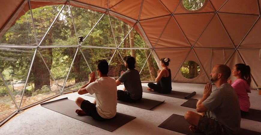 Pacific Domes yoga dome at Nectar Yoga on Bowen Island in Vancouver, Canada
