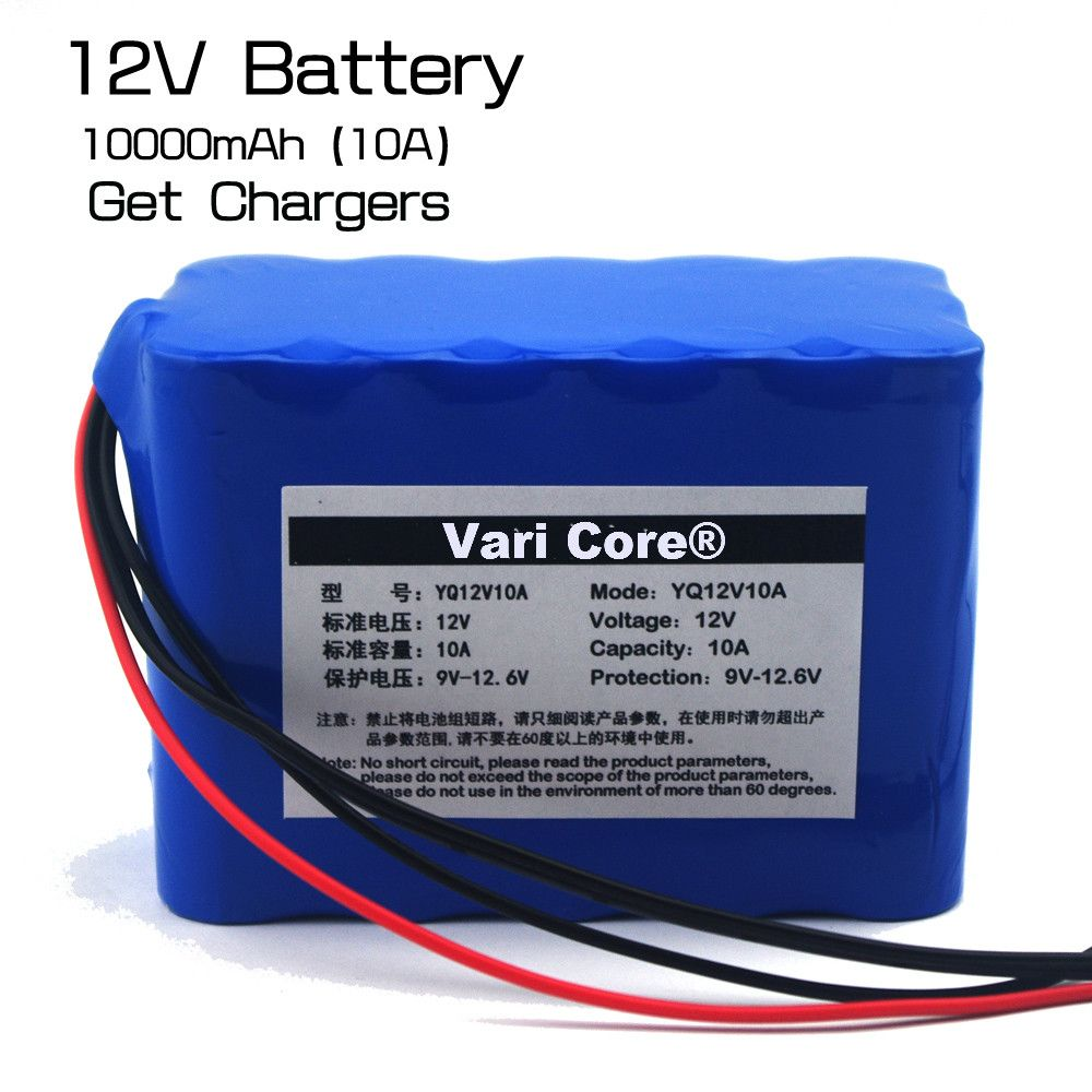 Varicore 100 Protection Large Capacity 12 V 10ah 18650 Lithium Rechargeable Ups Power Supply Ups Power Battery Charger 12v