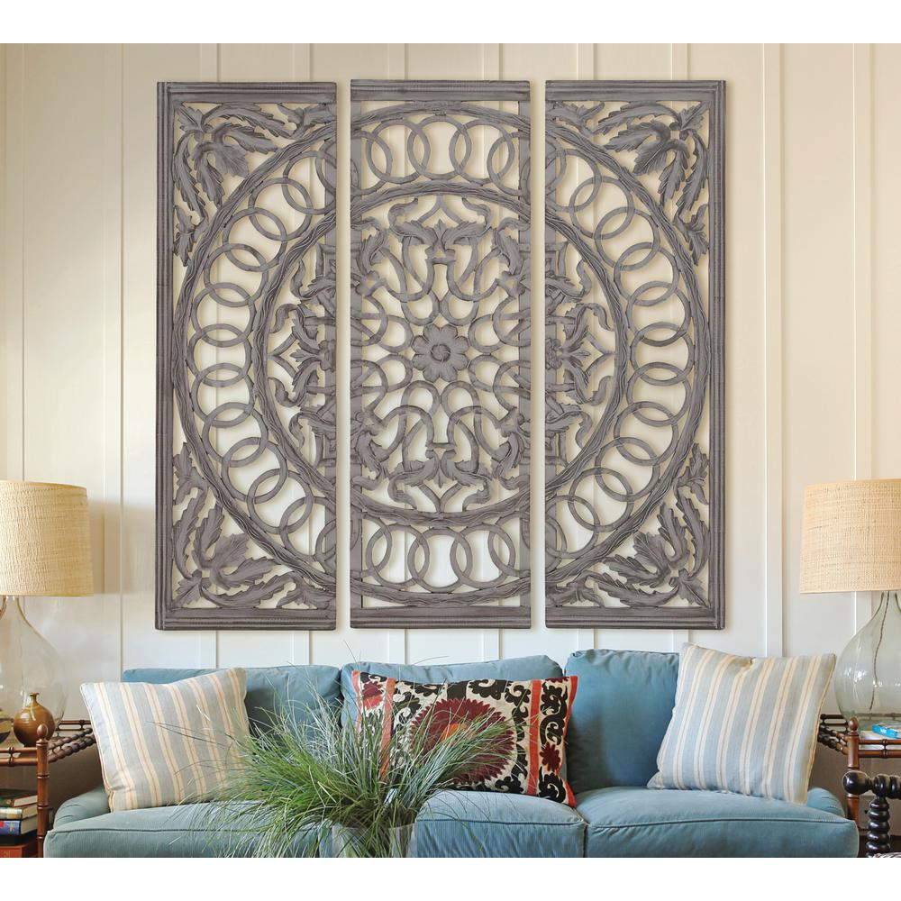 Litton Lane Scrolled 48 In X 48 In Wood And Mirrored Wall Panel Large Wall Decor Living Room Decorative Wall Panels Wall Art Living Room