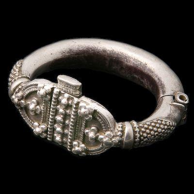 Antique Ethnic Tribal Indian Silver Bracelets - Rabari - Vintage Silver Anklet As Bracelet Rajasthan India Circa Mid 20th Century