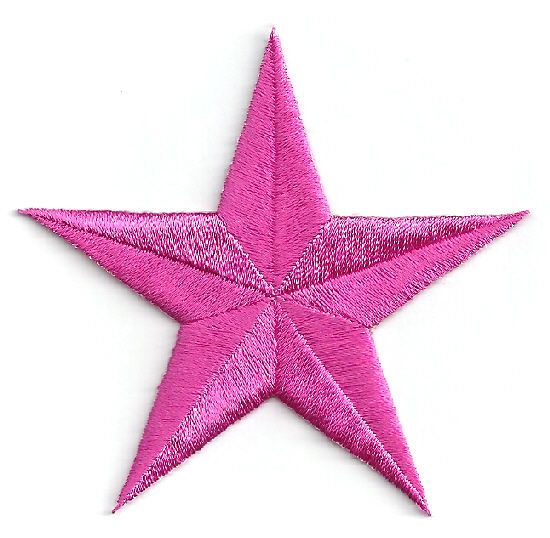 Embroidered Iron On Patches Fuchsia Pink Stars Set Of 4 School 3/""