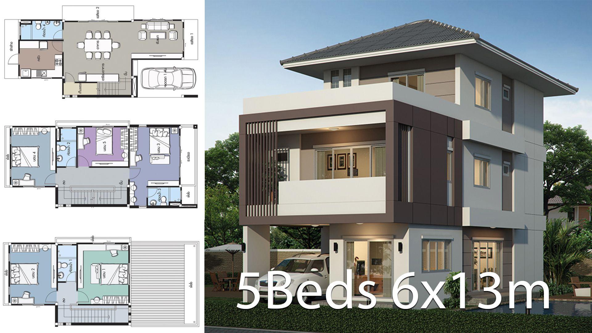 Home Design Plan 6x13m With 5 Bedrooms Style Modernhouse Description Number Of Floors 3 Storey Housebedroom In 2020 Home Design Plan Duplex House Design House Design