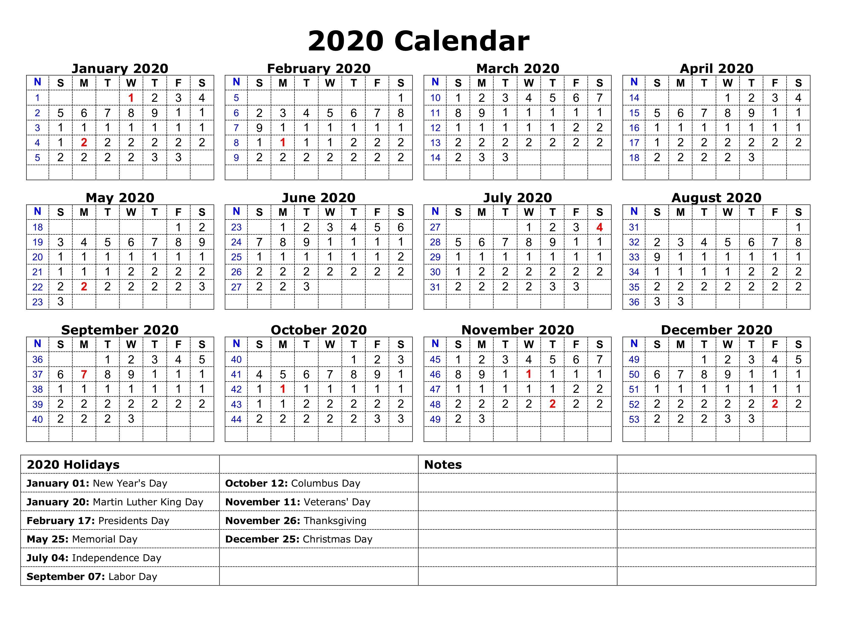 Free 2020 Printable Christmas Calendar Printable 2020 One Page Holidays Calendar | Holiday calendar