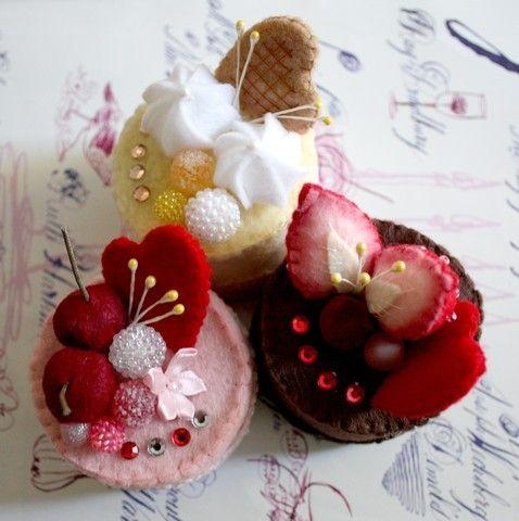 SALE Felt Cake Handmade  Heart Collection  Tea Party by aoisart, $13.00