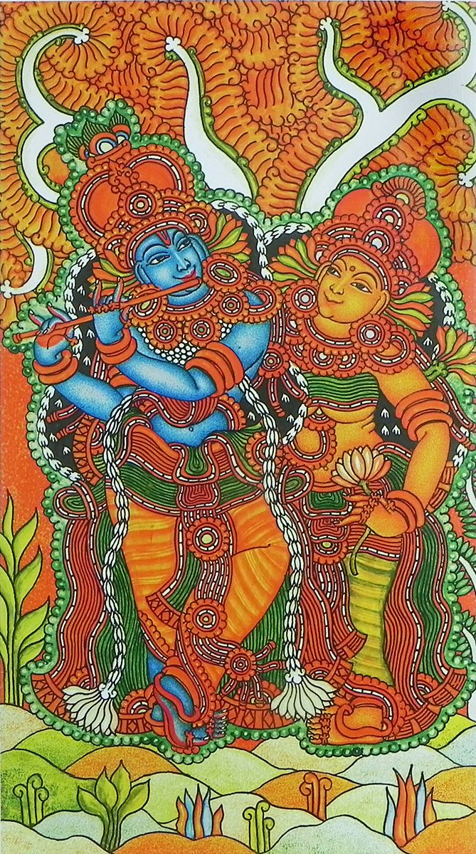 Radha krishna the divine lovers reprint on paper for Mural radha krishna
