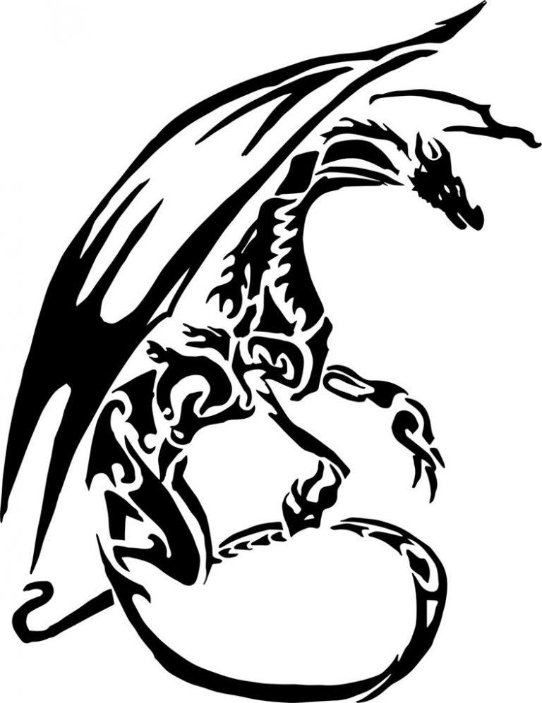 Черные белые рисунки драконов