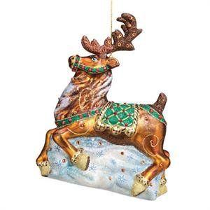 Reed & Barton Blown Glass Ornament Nordic Reindeer Christmas Ornament