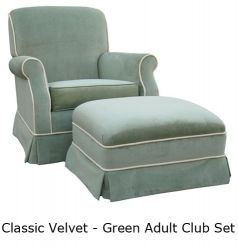Angel Song Classic Velvet Adult Green Club Rocker Glider