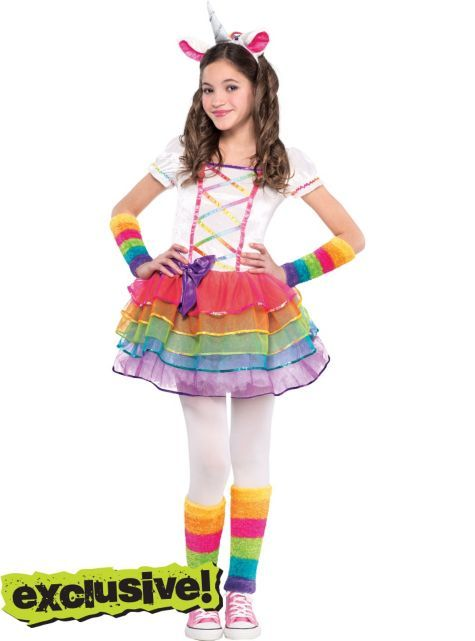 girls rainbow unicorn costume party city