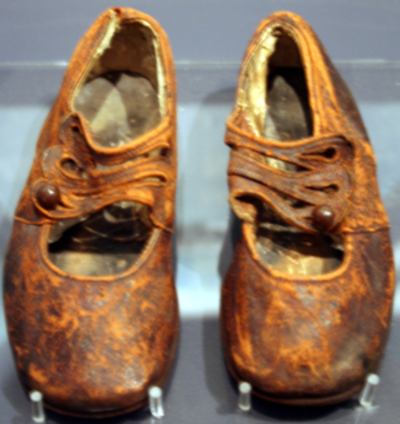Shoes belonging to 19 month old Sidney Goodwin, he perished in the freezing water.