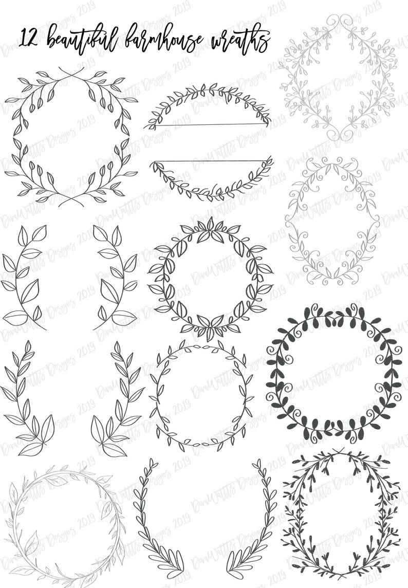Photo of Procreate Farmhouse Set of 12 Wreath Stamps Stamp Brushes Brush with 4 Bonus Stamps Instant Download Bundle Hand Drawn Art