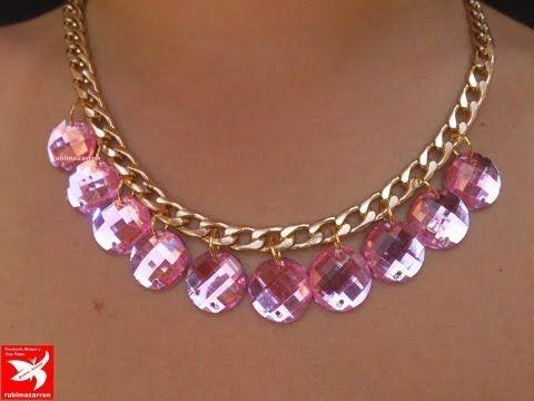 23237d11e44d Collar de cadena y cristales rosas. Necklace - YouTube