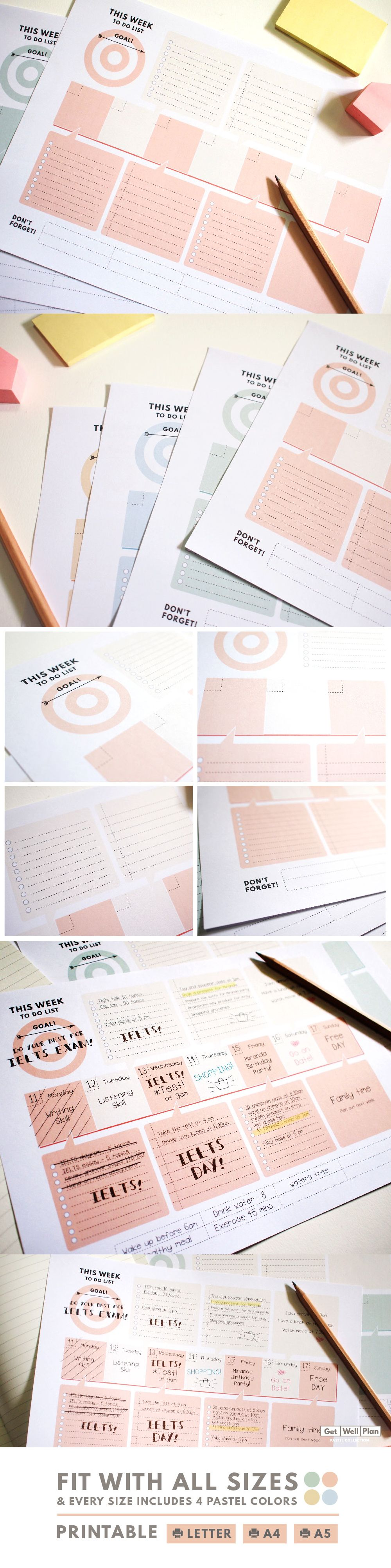 Weekly Planner Printable,Letter A4 A5 size horizontal weekly Goal planner, Weekly to do list, , Pastel color, minimal planner, GetWellPlan #dolistsorbooks