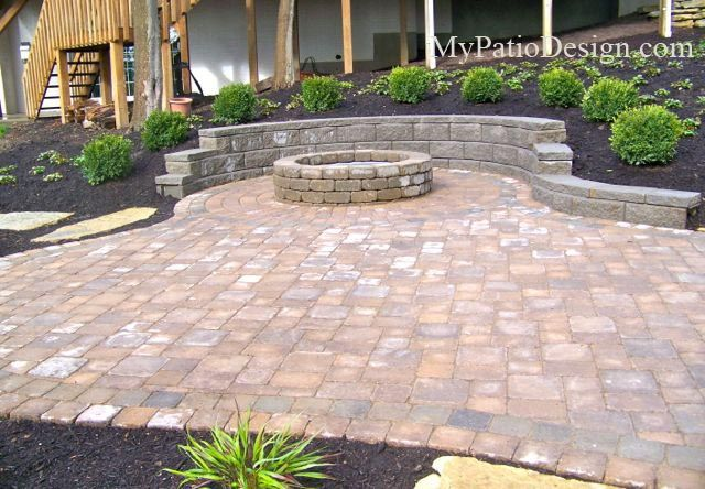 Patio Design #1039.  Paver patio includes built-in fire pit, non-tumbled pavers and block retaining wall for seating.  Patio Ideas | Patio Designs