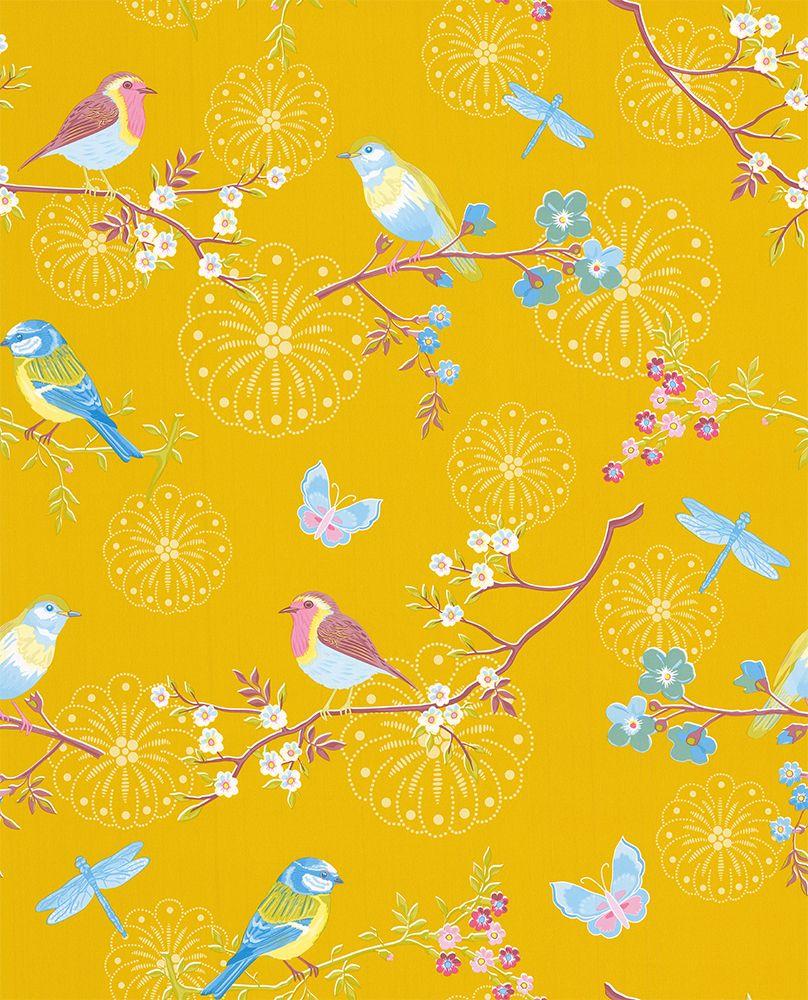 Early Bird by Eijffinger Mustard Wallpaper 375083