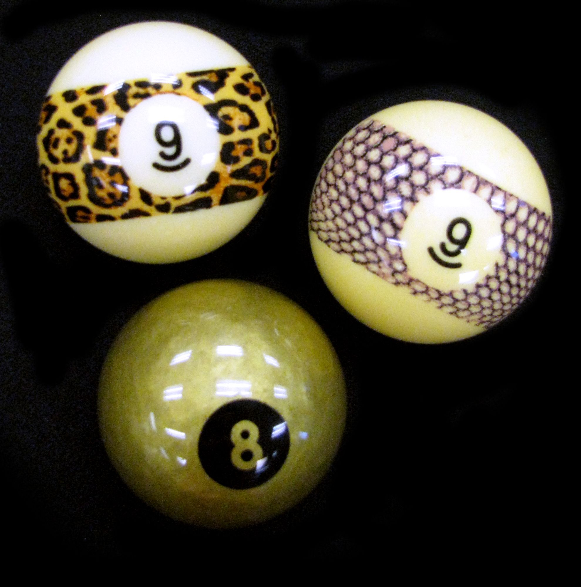 Funky billiard balls - Gold, leopard & snake pattern | Give me a ...