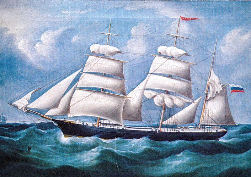 """Kuva albumissa LAIVAT - Google Kuvat.  Parkki """"Ahkera.""""  Öljymaalaus, R. B. Spencer, 1870-luvulta.  Pohjois-Pohjanmaan museo.  OULU"""