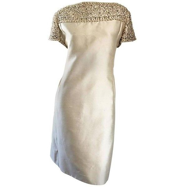 Preowned 1960s Malcolm Starr Light Green Raw Silk Sequin + Beaded +... (€675) ❤ liked on Polyvore featuring dresses, green, sequin cocktail dresses, beaded cocktail dresses, white sequin cocktail dress, vintage dresses and slimming cocktail dresses