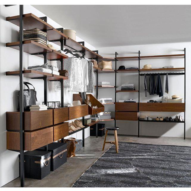 barre de penderie adapter l 39 tag re support penderie pour dressing kyriel 2 largeurs 60 et. Black Bedroom Furniture Sets. Home Design Ideas
