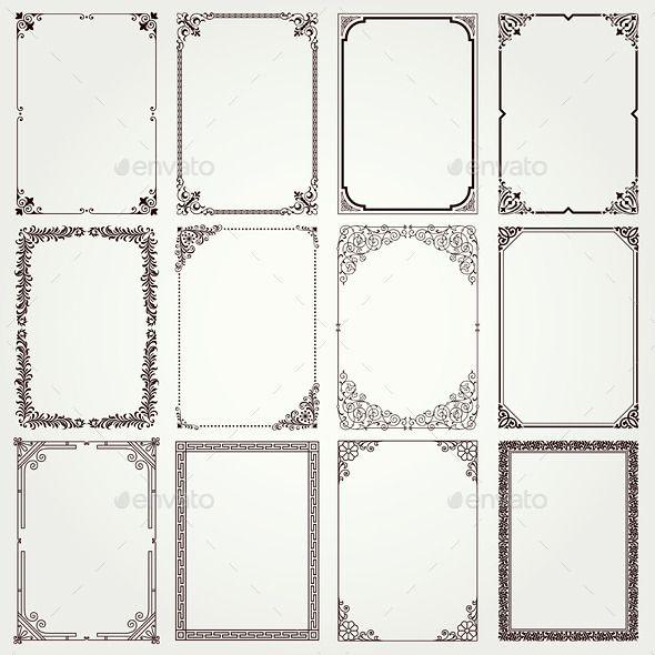 Decorative frames and borders A4 proportions set #framesandborders
