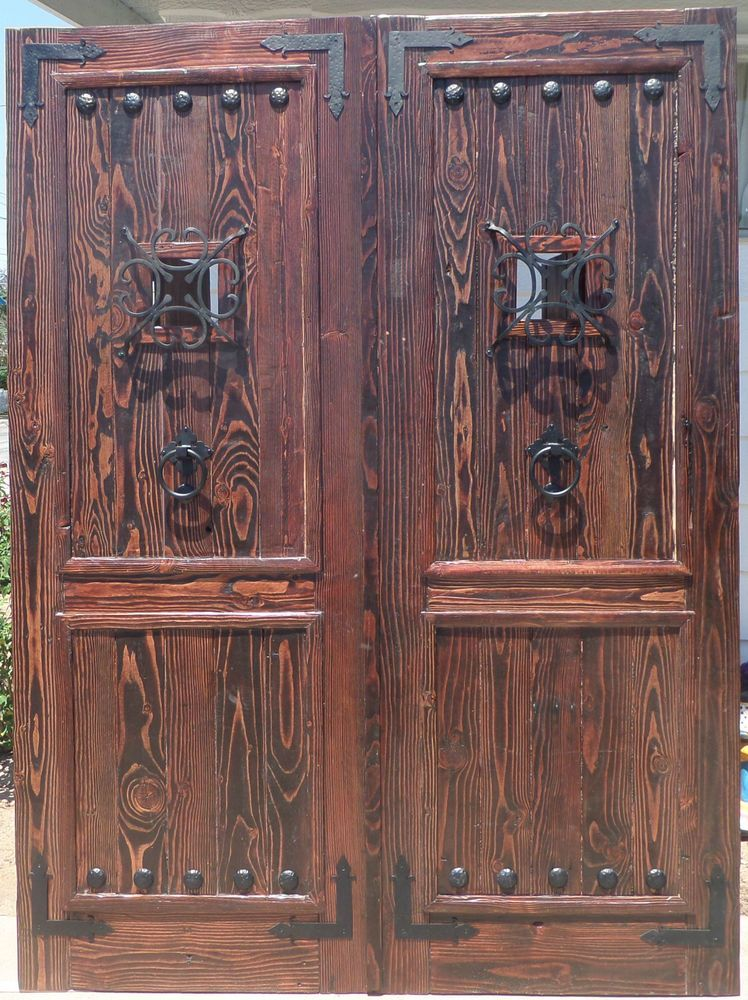 RUSTIC SOLID wood reclaimed Lumber double doors speakeasy wrought iron hardware & RUSTIC SOLID wood reclaimed Lumber double doors speakeasy wrought ...