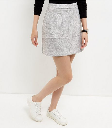 Grey Double Pocket A-Line Skirt | New Look | clothes | Pinterest
