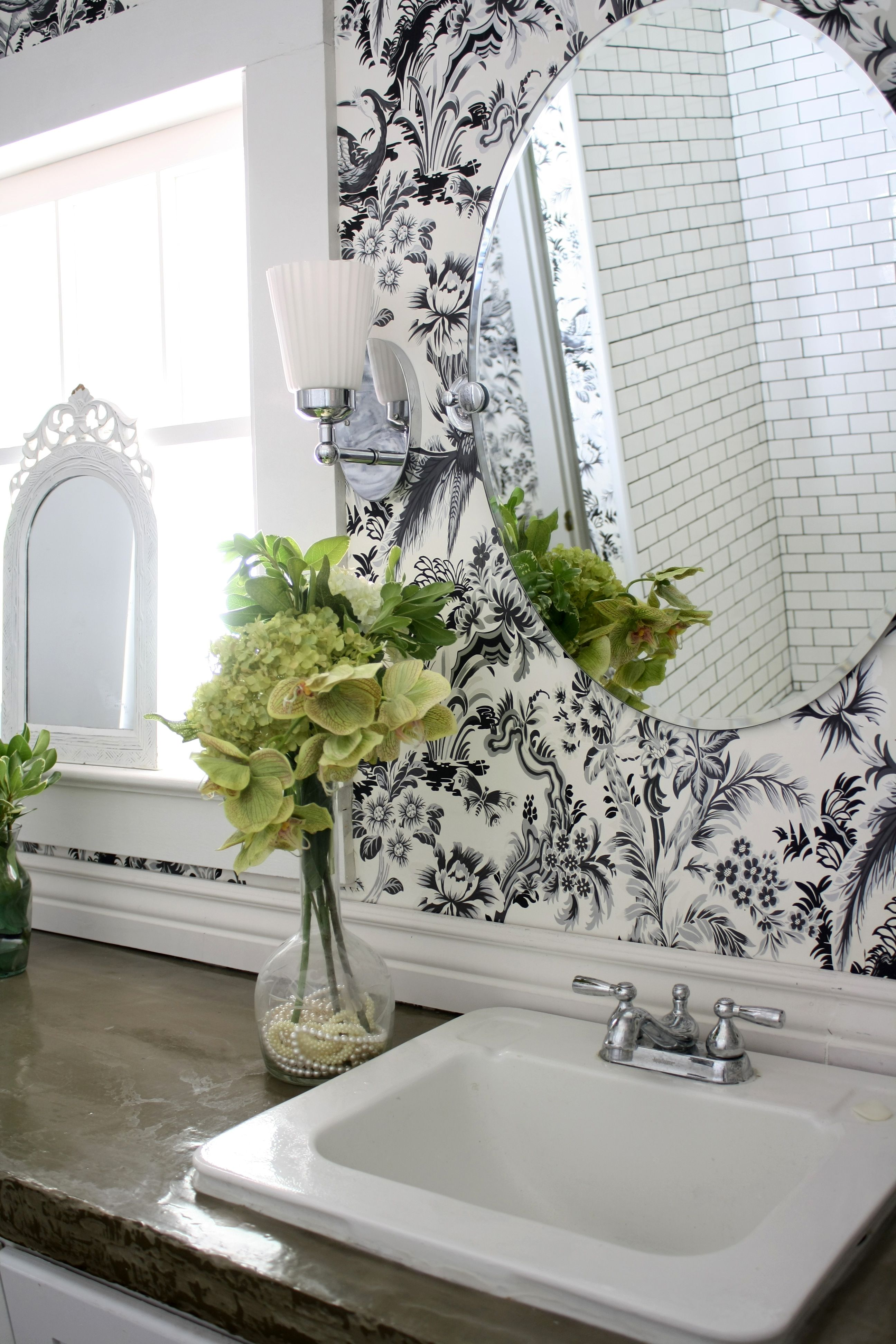 Poured Concrete Countertops In The Bathroom With Graphic Bird Flower Wallpaper Resurfaced Bathroo Marble Wallpaper Phone Flower Wallpaper Bathroom Wallpaper