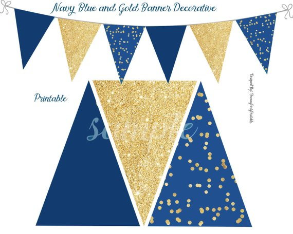 Navy Blue And Gold Banner Navy Blue And Gold Decorations Birthday Decorations Shower Decor Digital File Products Gold Banner Graduation Banner Ribbon Banner