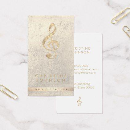 elegant faux gold treble clef music teacher business card - faux - business card sample