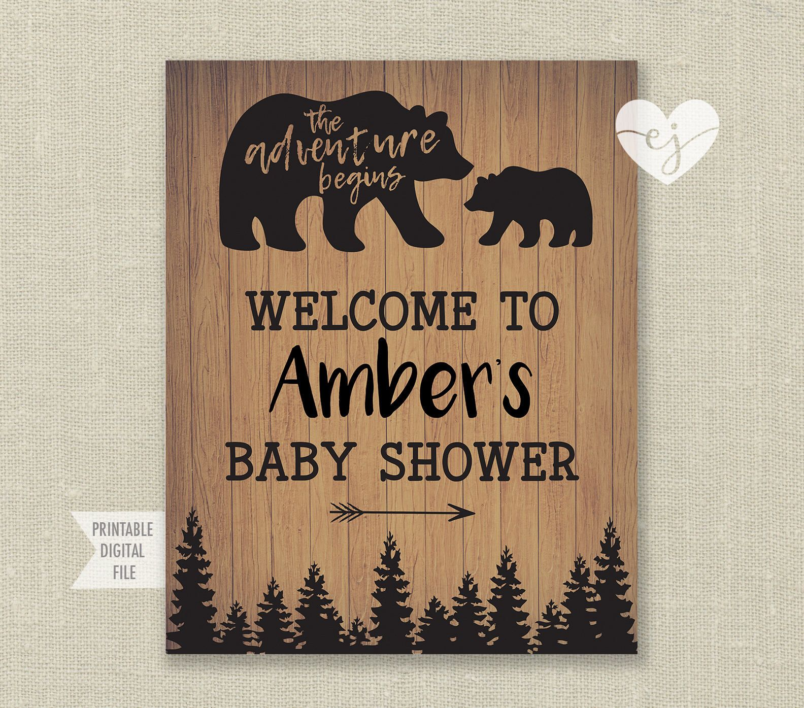 Bear Baby Shower Poster, Little Cub Shower Sign, Bear Shower