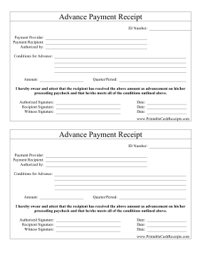 Advance Payment Receipt Advance Payment Payment Bookkeeping Templates
