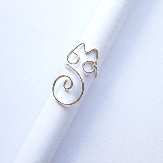 Cat ring - cat jewelry - silver wire wrapping - for cat lovers ...