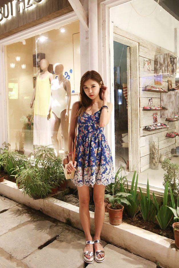 Blue Flower Summer Dress