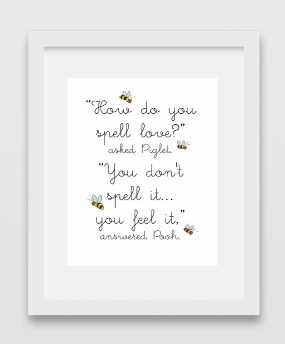How Do You Spell Love Winnie The Pooh Quote Print 5 White Love