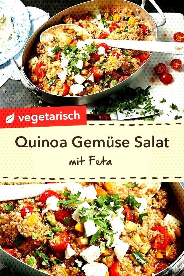 Quinoa Salat mit Feta und Gemüse Warm oder kalt ein Genuss Quinoa Gemüse Salat mit Feta und Pete