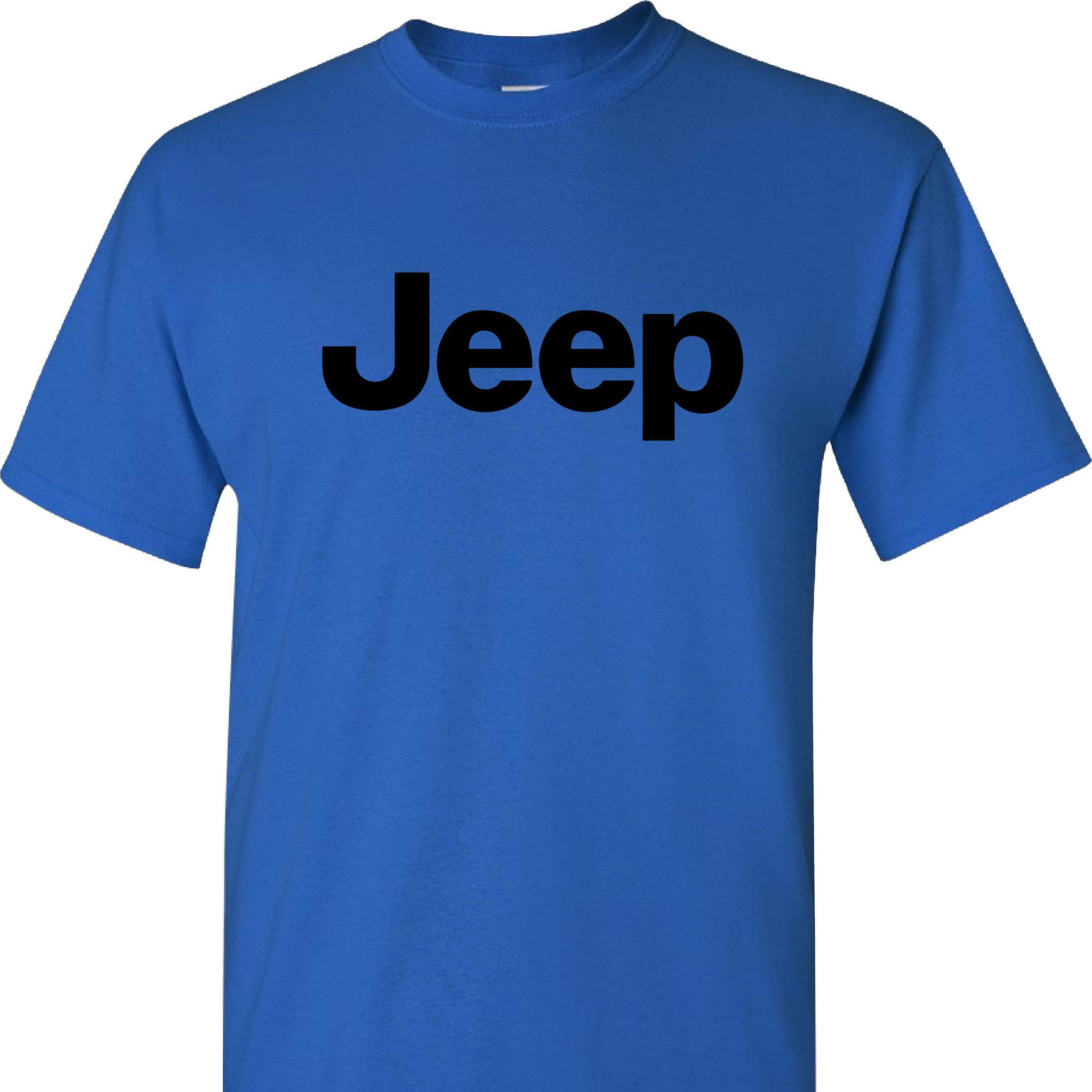 Jeep Logo On A Short Sleeve Blue T Shirt Jeeps Short Sleeves - Jeep logo t shirt