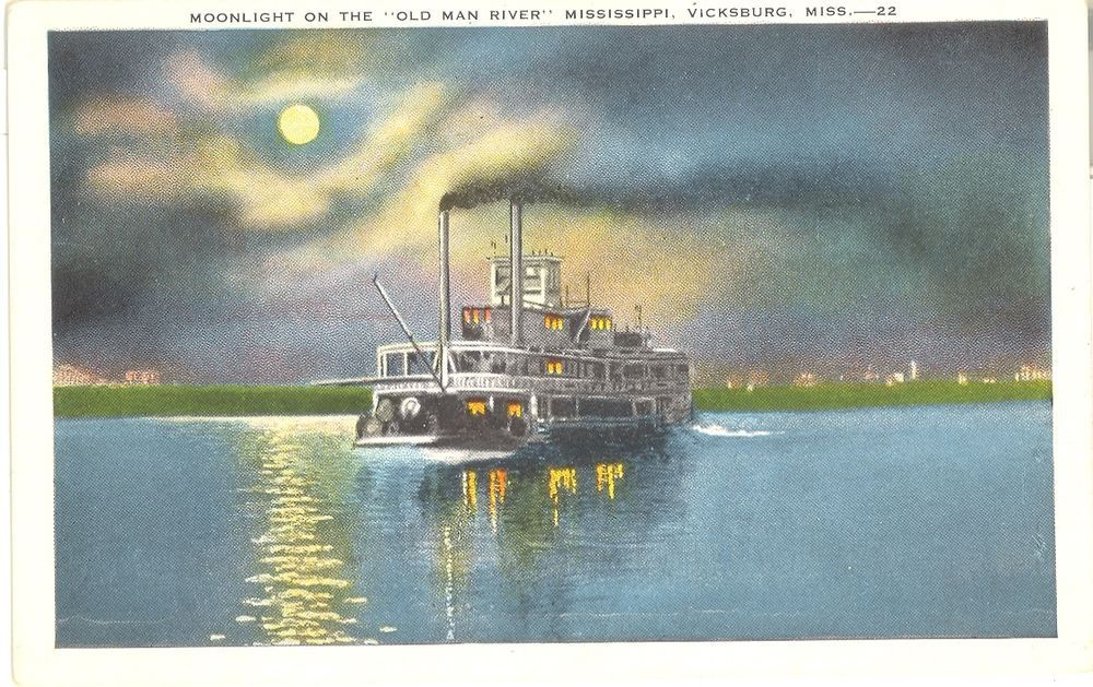Vintage Mississippi Linen Postcard Vicksburg Moonlight Old Man River Steam Boat