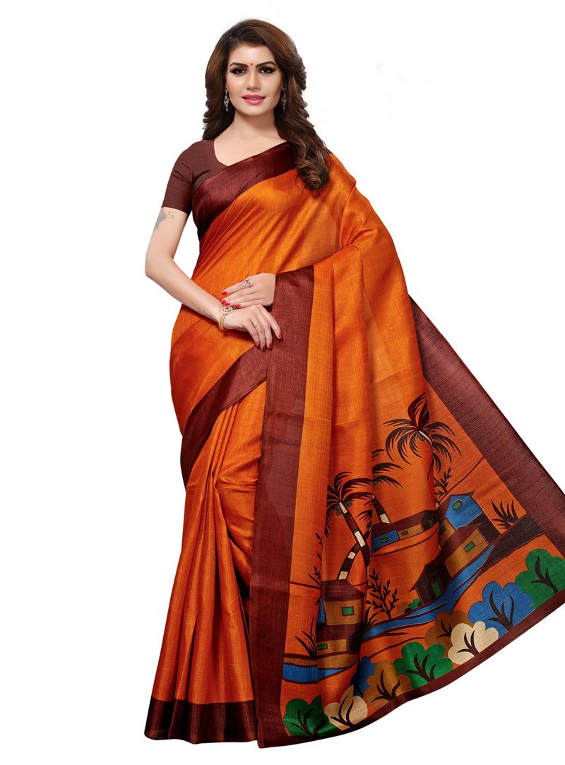 c091bcc2b17022 Buy Orange Khadi Festival Wear Saree 147607 with blouse online at lowest  price from vast collection of sarees at Indianclothstore.com.