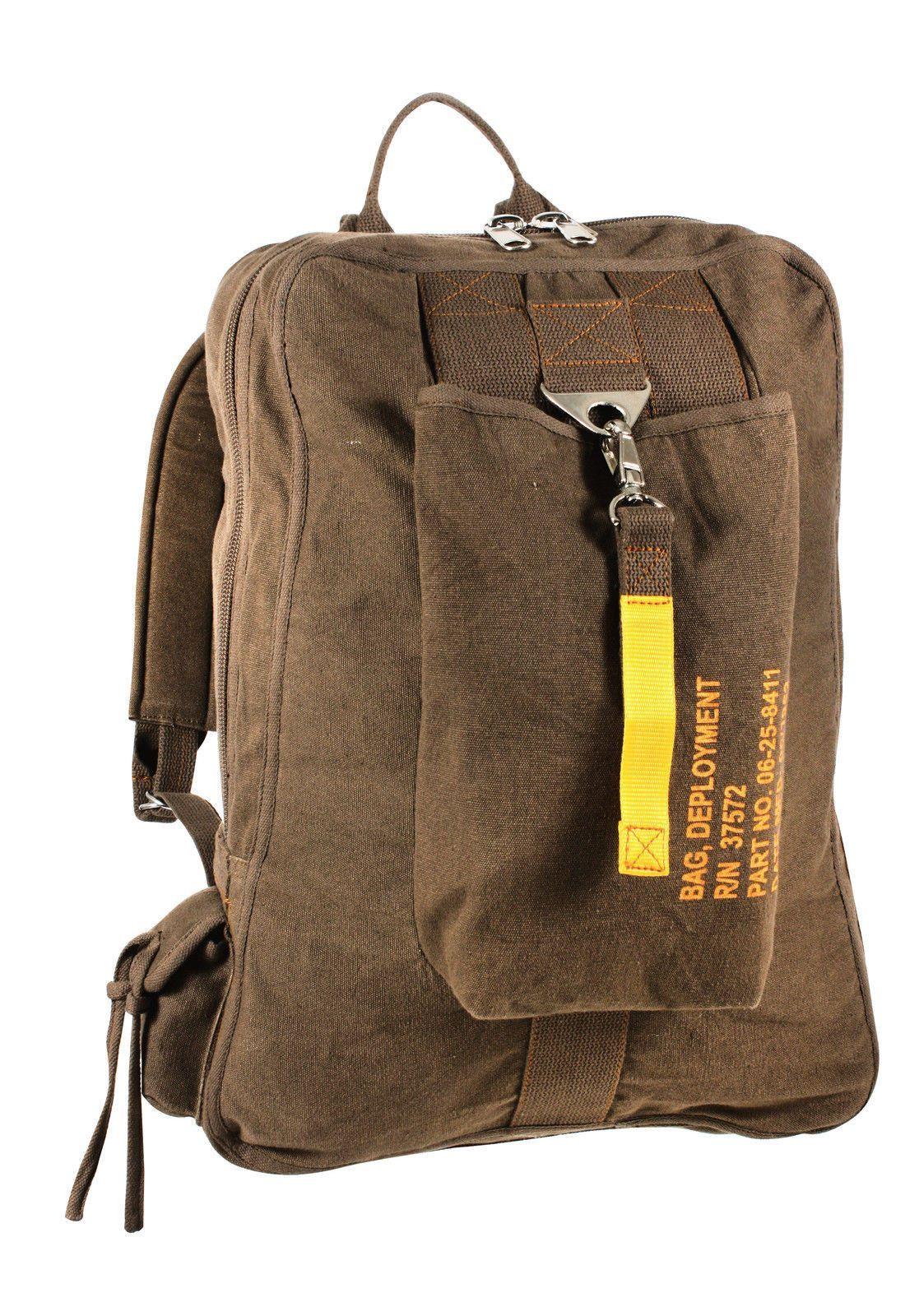 Vintage Canvas Flight Bags - Military Aviator Backpack Knapsack School Bag 79467ecbdcd61