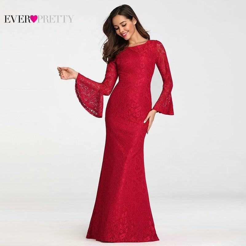 Ever Pretty Muslim Evening Dresses Long Elegant Full Lace Red Long Sleeve  Cheap Formal Prom Gowns. Kunjungi. Maret 2019 edb8628ee905
