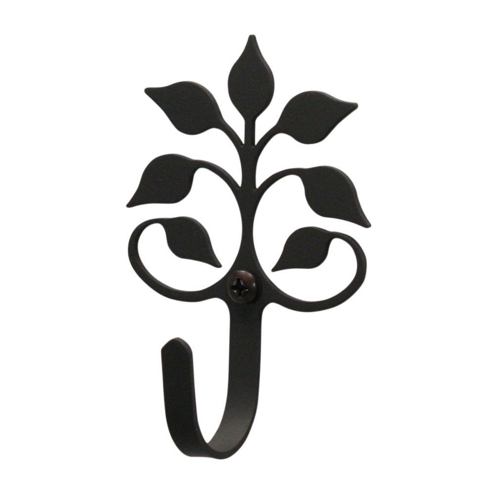 Village leaf fan black wrought iron indoor wall hook extra small
