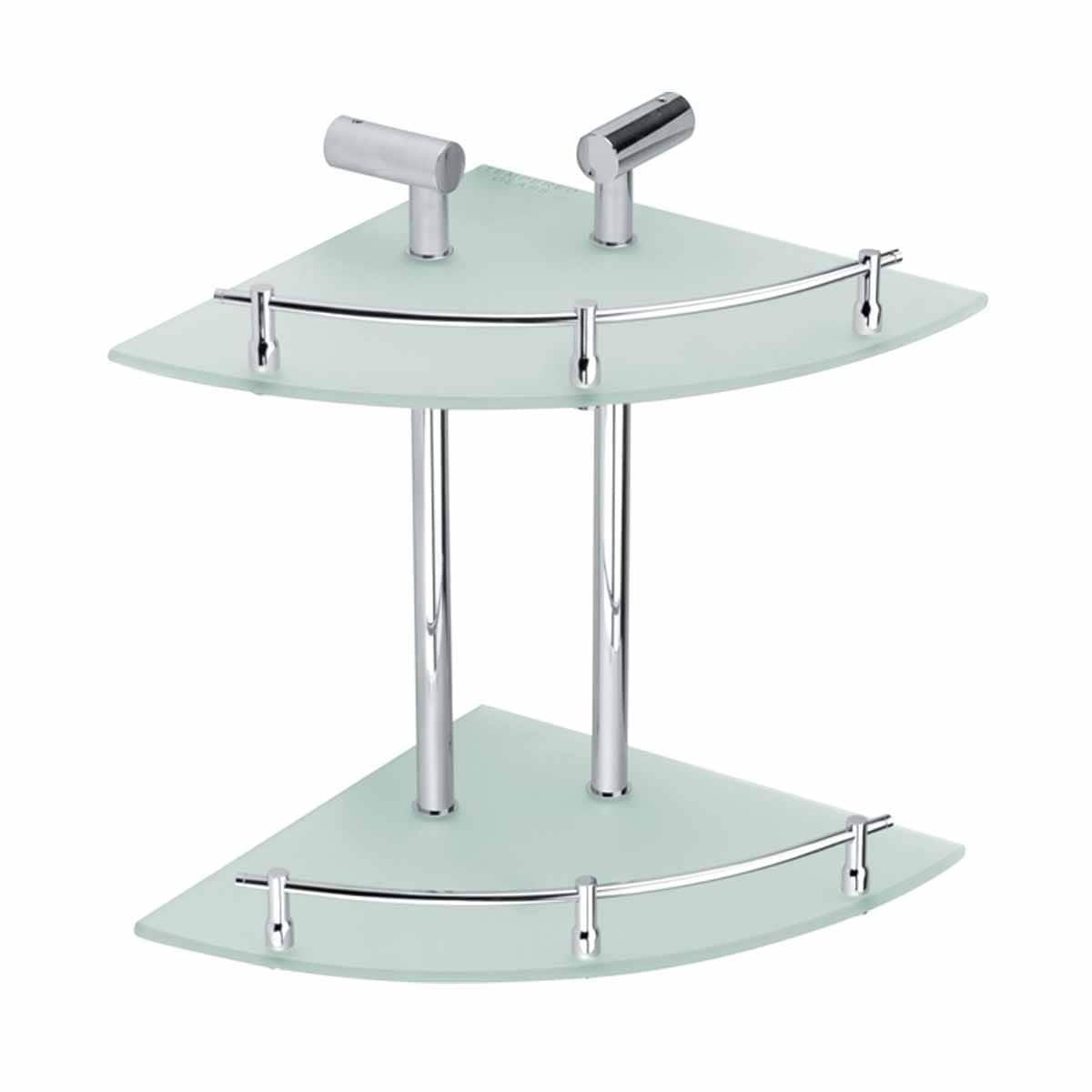 Corner Glass Shelf Dual Tiers Frosted Wall Storage Holder