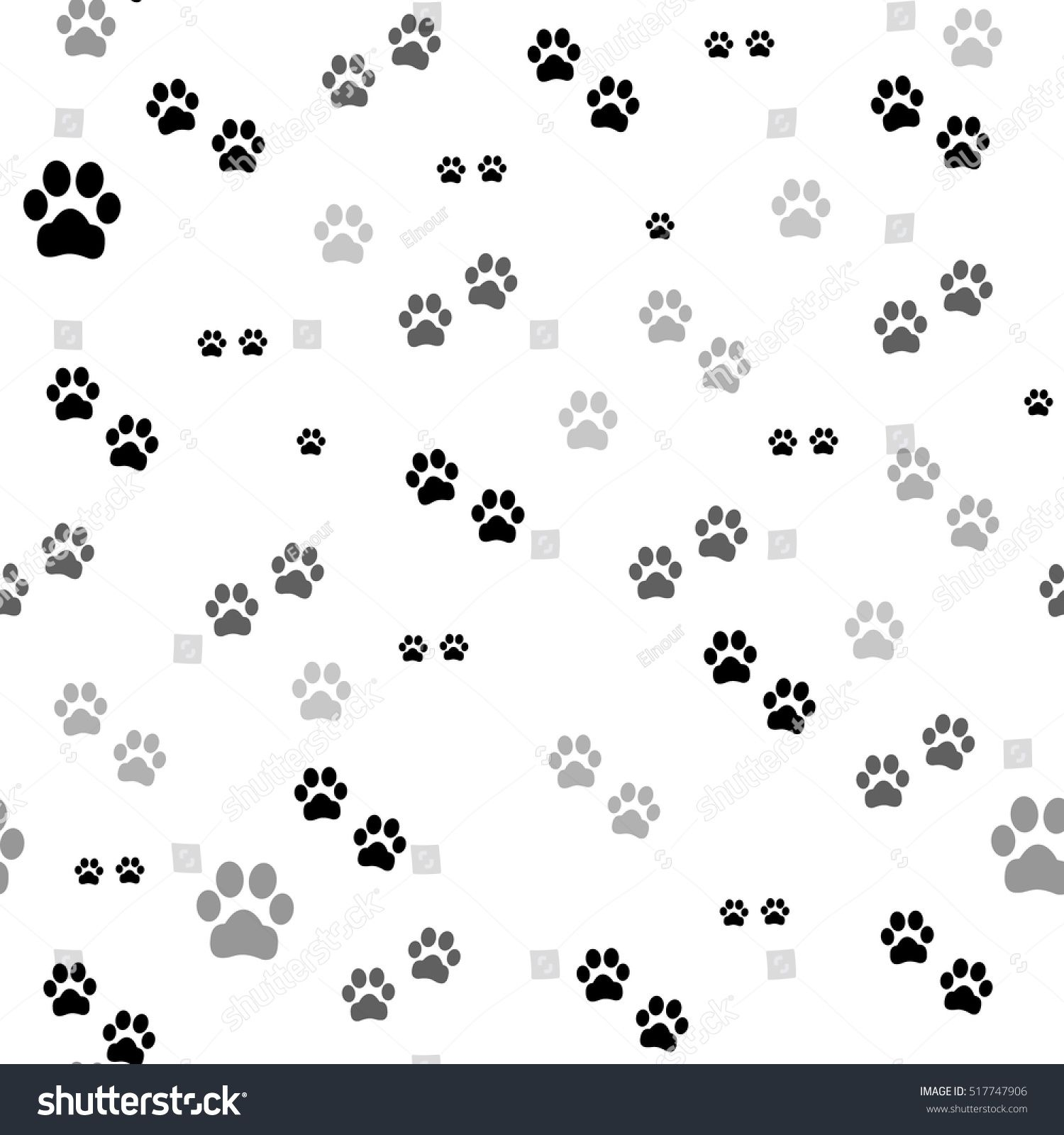 Paw print seamless. Traces of Cat Textile Pattern. Vector