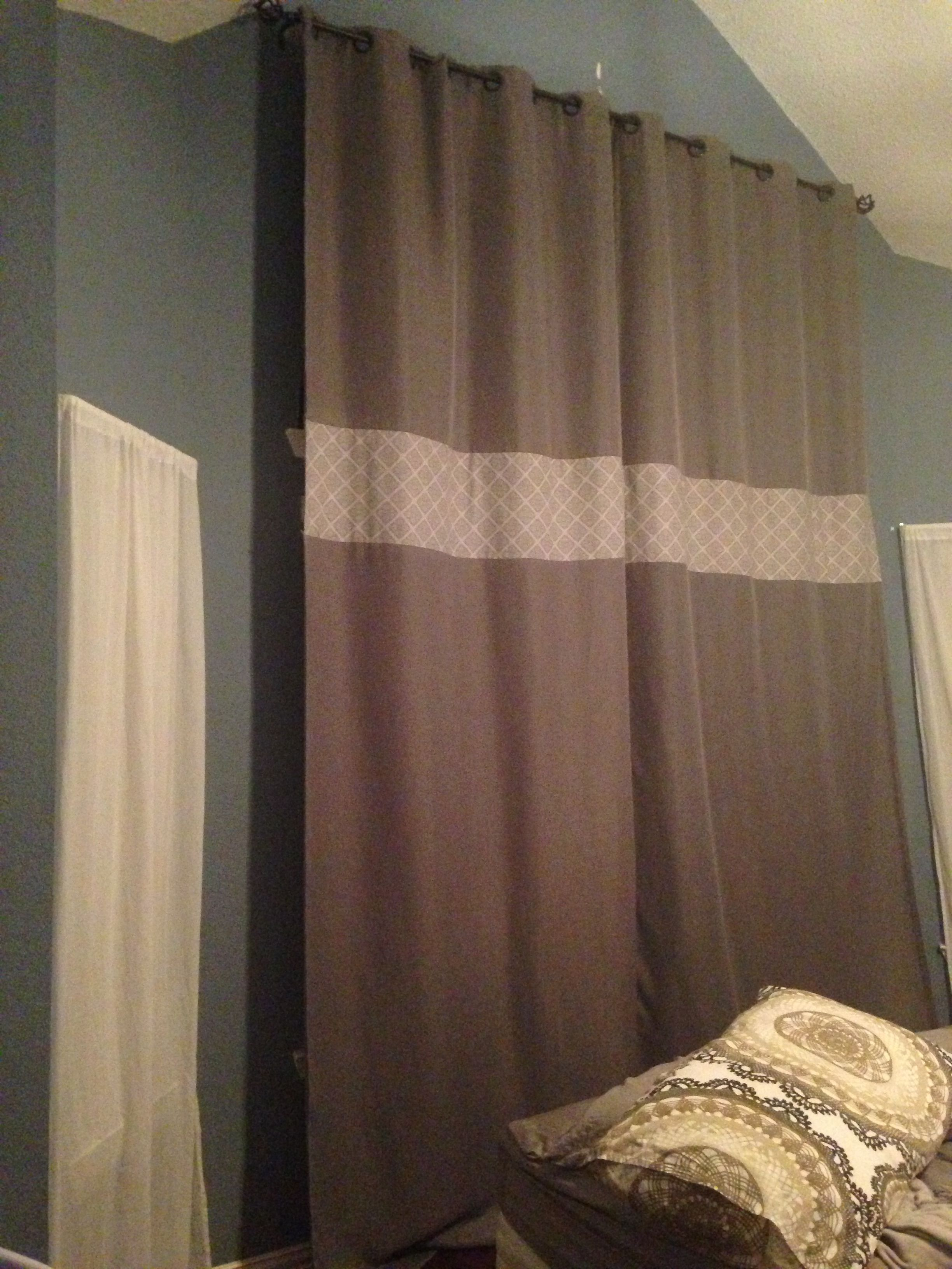 Making My Own 130 Inch Curtains And Covering That Awful Half Circle Window Used Eclipse Sun Blocking Curtains And Qui Custom Window Treatments Home Decor Home