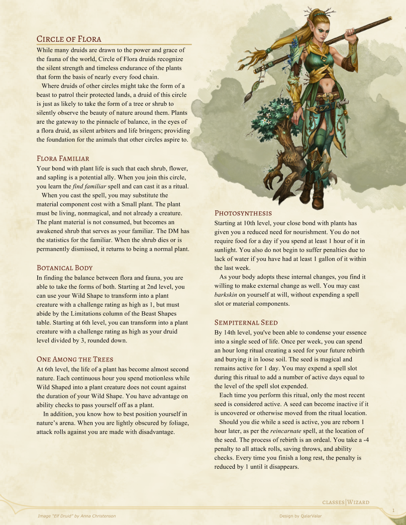 Circle of the Flora Druid by QalarValar | D&D homebrew in 2019 | Dnd