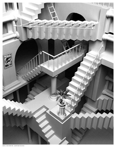 e9183f5ea2 Paper  14 1 2 x 11 1 2 Image  14 x 11 Another unique and unusual geometric  perspective art print poster of a staircase. Great black and white  conversation ...