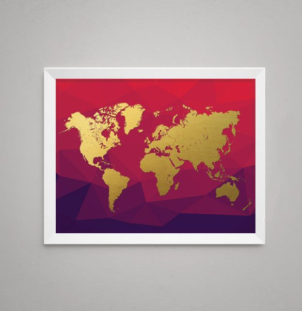 World map gold on red background colour gold and wall prints world map gold on red gumiabroncs Gallery