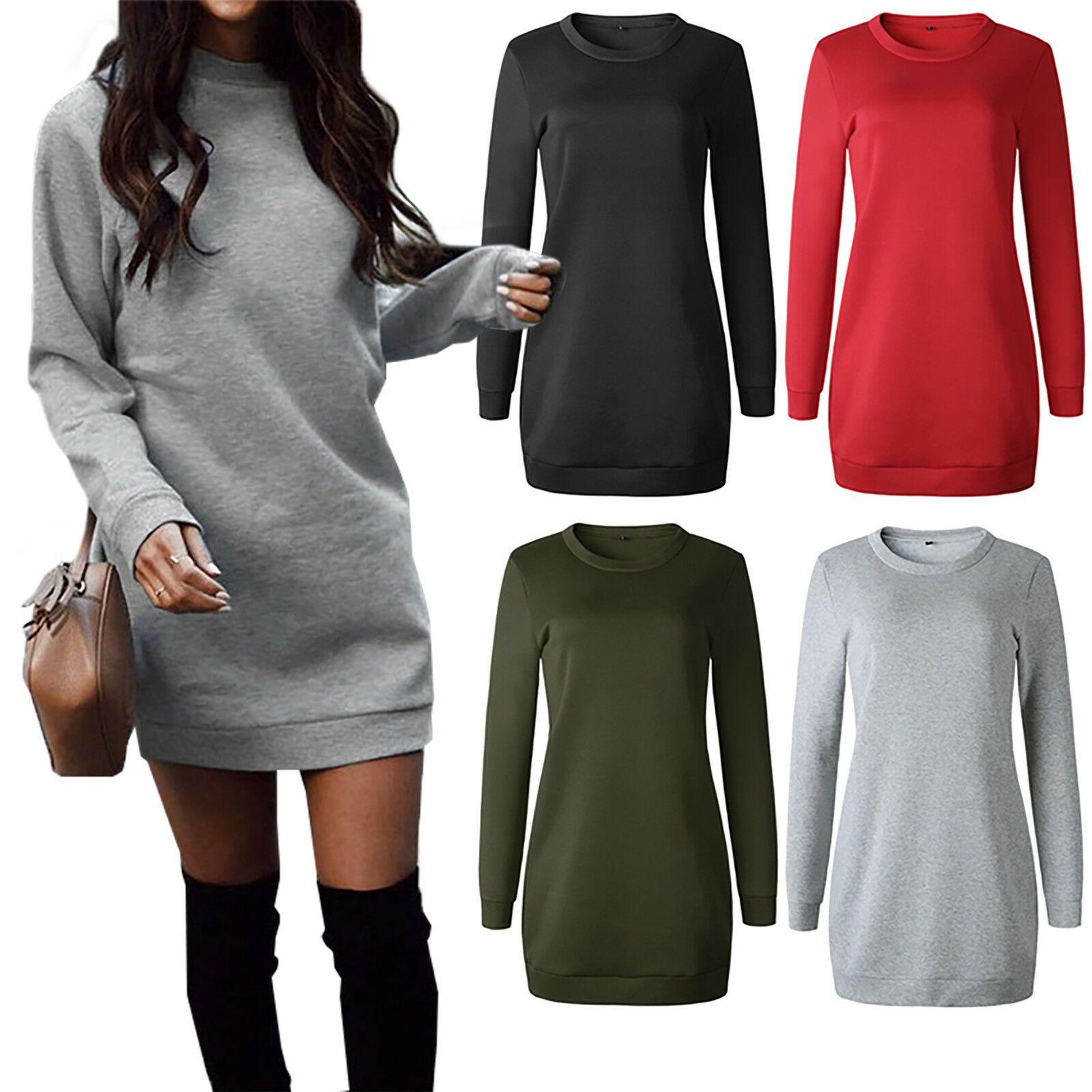 Damen Winter Pullover Pullikleid Sweatkleid Sweatshirt Langarm