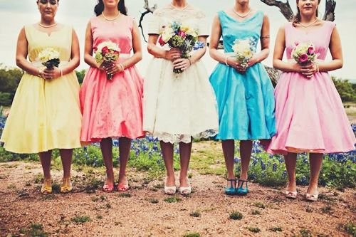 retro bridesmaids dresses